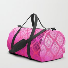 """Magenta Pink Damask Pattern"" Duffle Bag"
