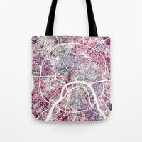 moscow Tote Bags featuring Moscow by MapMapMaps.Watercolors