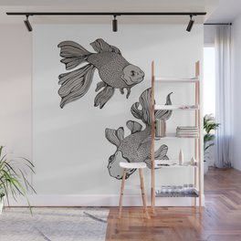 Illustrated Goldfish Wall Mural