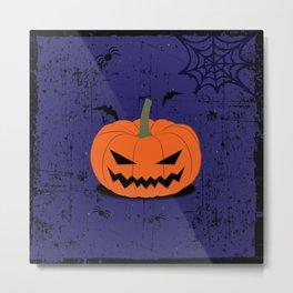SPOOKY PUMPKIN - BATS AND SPIDERS Metal Print