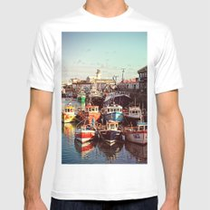 Boats resting in the Harbour Mens Fitted Tee MEDIUM White