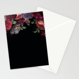 Vintage & Shabby Chic - Night Antique Redoute Roses Frame On Black Stationery Cards