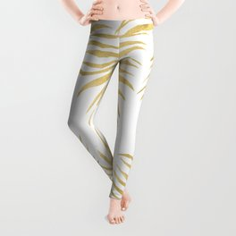 Fern Pattern Gold Leggings