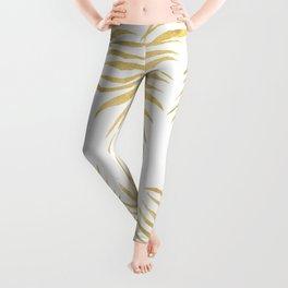 Fern Pattern Gold Leggings