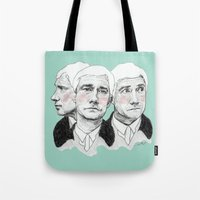 john green Tote Bags featuring John Watson by Cécile Pellerin