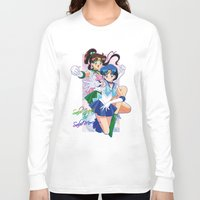 sailor jupiter Long Sleeve T-shirts featuring Sailor Mercury and Sailor Jupiter by Neo Crystal Tokyo
