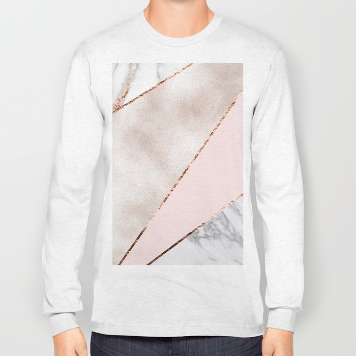 Spliced mixed rose gold marble Long Sleeve T-shirt