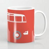 vw bus Mugs featuring VW Samba Bus - Flat by Art By Edo