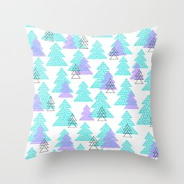 Cute winter design with mosaic pine trees. Throw Pillow