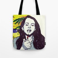 ultraviolence Tote Bags featuring The Sad Girl by Robert Red ART
