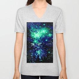 Fox Fur Nebula Galaxy Teal Midnight Blue Unisex V-Neck