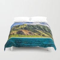 spires Duvet Covers featuring Na' Pali Spires, Kauai, Hawaii  by Elliott's Location Photography