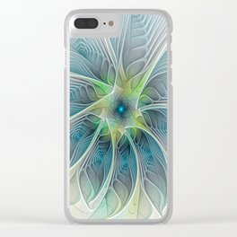 Flourish Fantasy, Abstract Fractals Art Clear iPhone Case