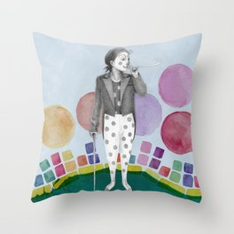clown and lots of dots Throw Pillow