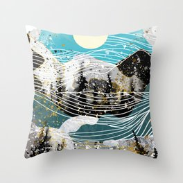 Waves and landscape Throw Pillow