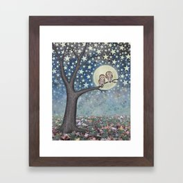 northern saw whet owls under the stars Framed Art Print
