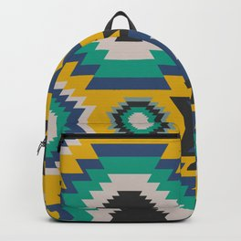 Ethnic in blue, green and yellow Backpack