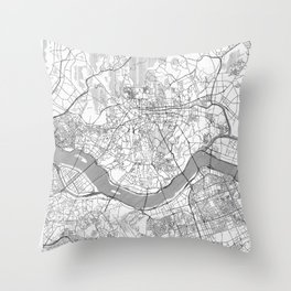 Seoul Map Line Throw Pillow