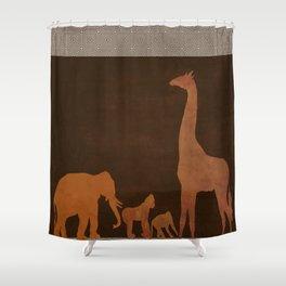 Brown Safari Jungle Zoo Animals Shower Curtain