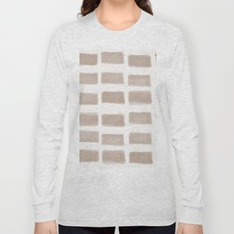 Brush Strokes Horizontal Lines Nude on Off White Long Sleeve T-shirt