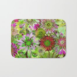 Rivalry of Flowers - green & red Bath Mat