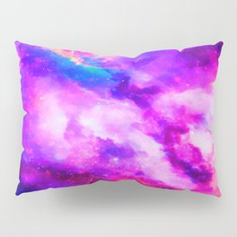Mystical Starry Space Nebulous - Watercolor Galaxy Painting Pillow Sham