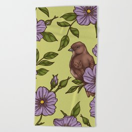 Purple Wild Rose Beach Towel