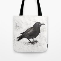 crow Tote Bags featuring Crow by Puddingshades