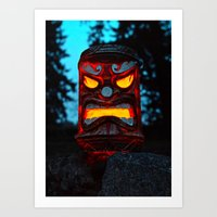 returns Art Prints featuring Tiki returns by Vorona Photography