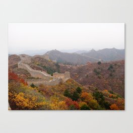 Great wall of china with mountains and colorful wild plants arround Canvas Print