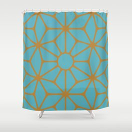 Blue and Orange Tiles Shower Curtain