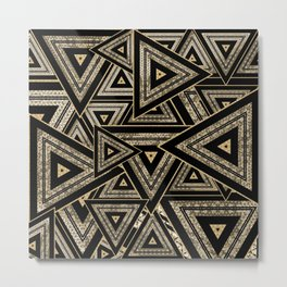 Gold and Black Triangle Abstract Multi Pattern Design Metal Print