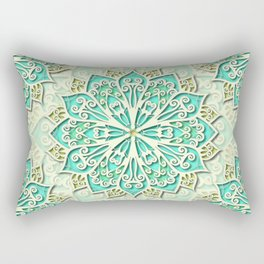 White cyan and yellow Beautiful Wedding Mandala Rectangular Pillow