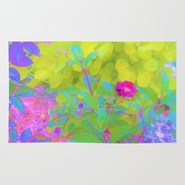 Red Rose with Stunning Golden Yellow Garden Foliage Rug