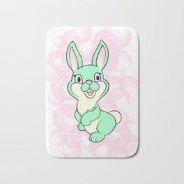 Green kitsch bunny rabbit Bath Mat
