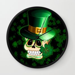 St Patrick Skull Cartoon  Wall Clock