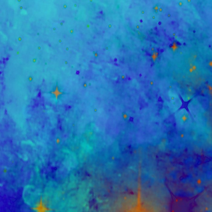 Blue Atmoshpere - Abstract in green, blue, orange and red Leggings