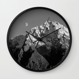 Moon Over Pioneer Peak B&W Wall Clock