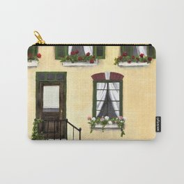 European Apartment, Clothes line, Green Shutter, Birds and Berry Studio Carry-All Pouch