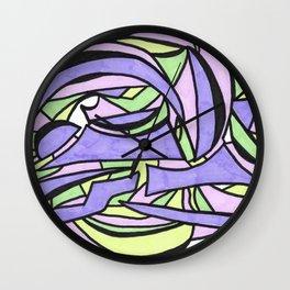 Pastel Party Play Graffiti Style Abstract Drawing Wall Clock