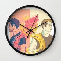 stiles Wall Clocks featuring derek and stiles by steammmpunk