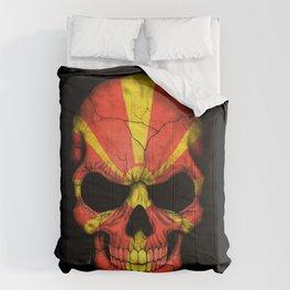 Dark Skull with Flag of Macedonia Comforters
