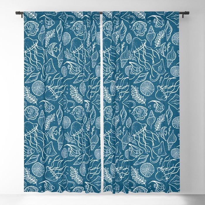 Sea Life - Marine Blue Blackout Curtain
