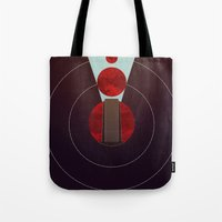 2001 a space odyssey Tote Bags featuring 2001: A Space Odyssey - The Monolith Tribute by Thecansone
