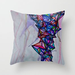 Geometric Shape Creature #1 (bright) Throw Pillow