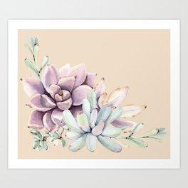 Trendy Apricot + Mint Succulents Art Print
