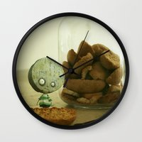 tim burton Wall Clocks featuring Brie Boy - Tim Burton by PaperTigress