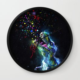 Crystal T-Rex in Space Wall Clock