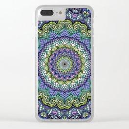 Purple n' Green Machine - Mandala Art Clear iPhone Case