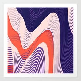 Pink Red Blue lines Art Print